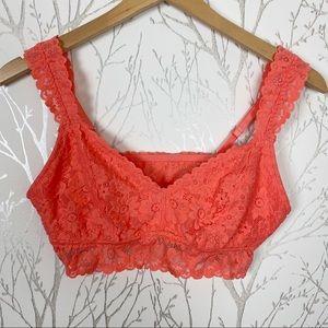 Aerie Orange/Pink Lightly Lined Bralette NWOT L